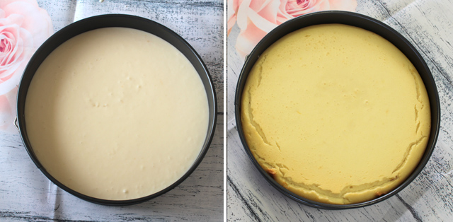 עוגה לפני ואחרי אפייה