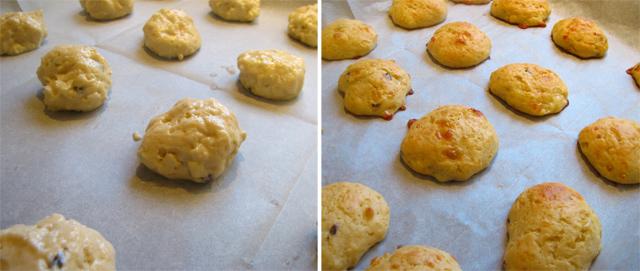לחמניות גבינה - לפני ואחרי האפייה