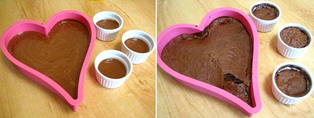 עוגת שוקולד לפני ואחרי האפייה