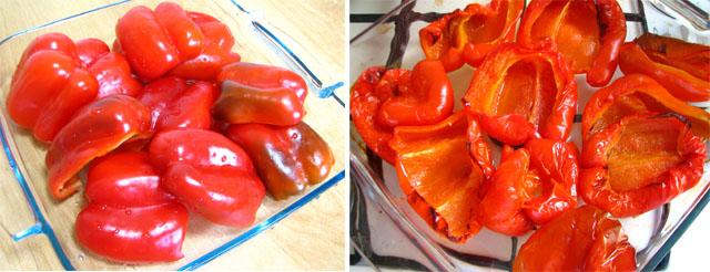 פלפלים אדומים - לפני ואחרי הקלייה