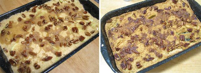 עוגת תפוחים - לפני ואחרי האפייה