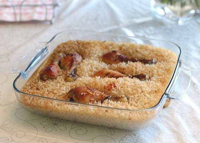 עוף ואורז אפויים בתנור
