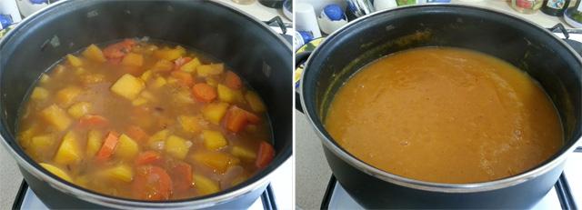 מרק כתום דיאטטי - לפני ואחרי טחינה