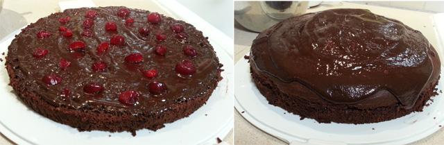 עוגת שוקולד חצוייה עם דובדבנים וקרם גנאש
