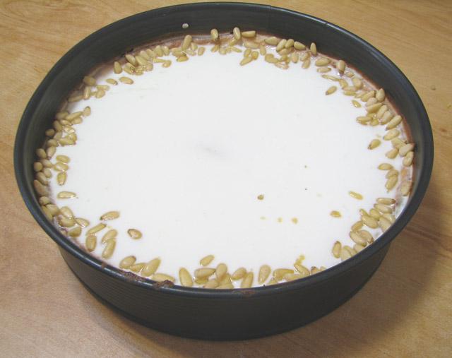 עוגת ריקוטה וצנוברים - אחרי האפייה