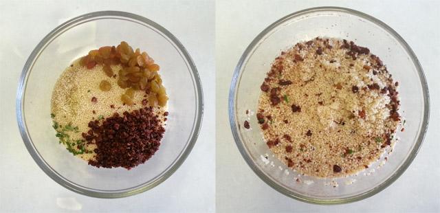קוסקוס עם פקאנים וצימוקים - לפני ואחרי הכנה