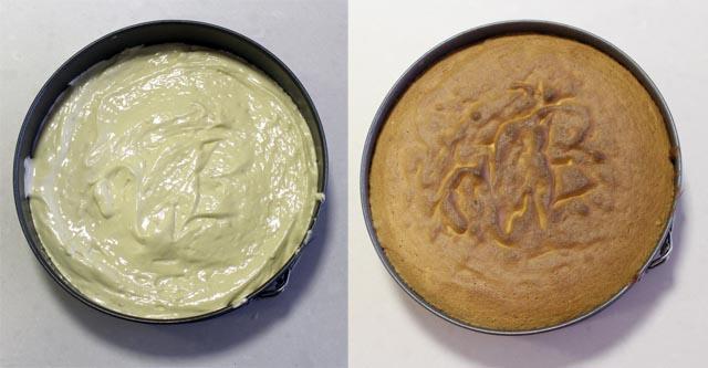 עוגת טורט לפני ואחרי האפייה