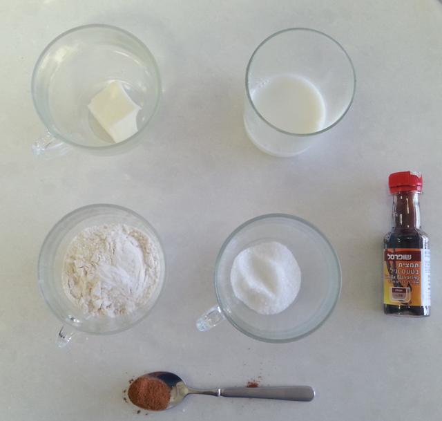 מצרכים לעוגת קינמון בכוס