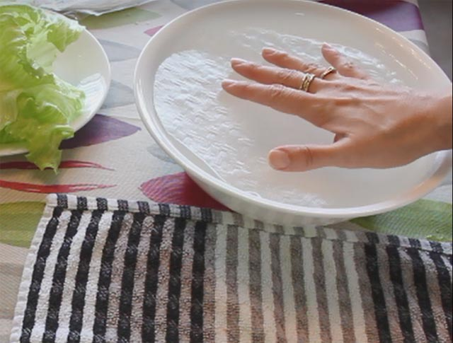 משרים את דף האורז במים