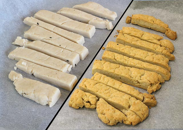 אצבעות גבינה לפני ואחרי אפייה